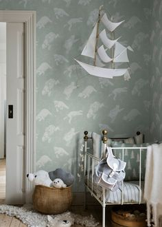 Scandinavian design for the youngest. Imagine decorating a nursery with these fairy tale looking wallpaper. A new collection from Boråstapeter for children, Scandinavian Designers Mini Kids Room Design, Nursery Design, Scandinavian Kids Rooms, Scandinavian Design, Scandinavian Wallpaper, Kids Bedroom, Bedroom Decor, Bedroom Ideas, Bedroom Lamps