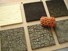 stages in painting... Making textures for groundwork with sculpey