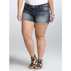 afb264b95c0 Torrid Skinny Short Shorts - Medium Wash (47 BRL) ❤ liked on Polyvore  featuring