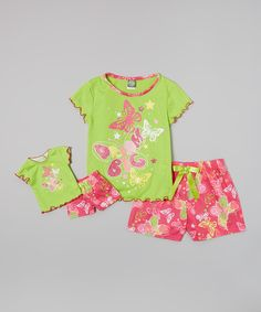 Look what I found on #zulily! Dollie & Me Green 'Dream Big' Pajama Set & Doll Outfit - Girls by Dollie & Me #zulilyfinds