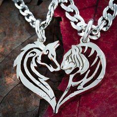 Jewelry & Watches Cheap Sale Ciondolo Lui E Lei Divisibile San Valentino Argento E Zirconi,+catenine Argento
