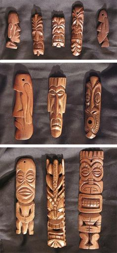 Pendants 6 by tflounder on DeviantArt Dremel Projects, Wood Projects, Woodworking Projects, Tiki Head, Tiki Art, Tiki Tiki, Tiki Totem, Bois Diy, Bone Carving