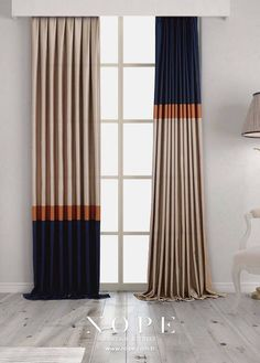 Lacivert, turuncu ve krem renkleri hiç bu kadar uyumlu olmamıştı. Desen: Bella Navy blue, orange and cream colors have never been so harmonious . Living Room Decor Curtains, Home Curtains, Modern Curtains, Curtains With Blinds, Best Curtains, Curtain Styles, Curtain Designs, Rideaux Design, Custom Drapes