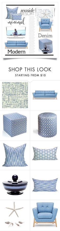 """Decorating in Denim"" by conch-lady ❤ liked on Polyvore featuring interior, interiors, interior design, home, home decor, interior decorating, York Wallcoverings and Lazy Susan"
