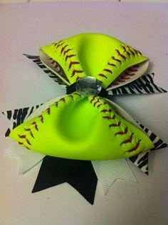 Neon Green Softball Stitching XL Diva Bow