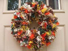 Fall Wreath, Autumn Wreath, Fabric Wreath, Indian Summer Front Door Wreath
