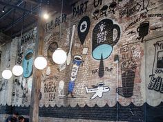 La Colombe's new Fishtown HQ on Frankford Ave. is rocking a mural. Metal Industrial, Industrial Ceiling Lights, Industrial Flooring, Industrial House, Industrial Bathroom, Industrial Farmhouse, Industrial Stairs, Industrial Closet, Industrial Shelving
