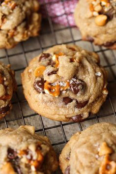 Sea Salt Butterscotch Pretzel Cookies are my new salty/sweet obsession! Browned Butter adds depth to the flavor while the butterscotch and chocolate chips keep things perfectly sweet! from /cookiesandcups/