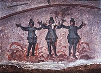 The Three Youths in the Fiery Furnace (Daniel 3:10-30), catacomb of Priscilla, 3rd century