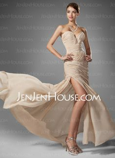 Prom Dresses - $154.39 - A-Line/Princess Namorada Trem Tribunal Chiffon  Charmeuse Prom Dresses com Preguear  Beading (018005251) http://jenjenhouse.com/pt/A-line-Princess-Namorada-Trem-Tribunal-Chiffon--Charmeuse-Prom-Dresses-Com-Preguear--Beading-018005251-g5251