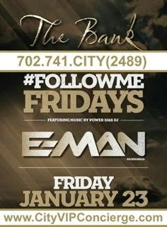 #FollowMe Friday January 23rd at The BANK Nightclub Las Vegas. Contact 702.741.2489 City VIP Concierge for Table and Bottle Service, Tickets and the Best of Las Vegas VIP Nightclub Services. #TheBANKNightclubLasVegas #VegasNightclubs #LasVegasNightclubs #VegasVIPServices #LasVegasVIPServices #VegasBottleService #LasVegasBottleService #CityVIPConcierge CALL OR CLICK TO BOOK http://www.cityvipconcierge.com/las-vegas-nightlife.html