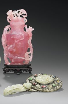 A CARVED PINK QUARTZ COVERED VASE AND A JADE, HARSTONE AND METAL MIRROR, CHINA, QING DYNASTY, 19TH CENTURY