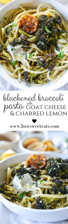 blackened broccoli pasta with charred lemon and goat cheese by ...