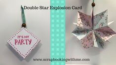 fr: scrapbooking with me. use double sided card stick. Need ribon and bead, Fancy Fold Cards, Folded Cards, 3d Paper Projects, Paper Crafts, Birthday Explosion Box, Origami Paper Folding, Wink Of Stella, Interactive Cards, Paper Ornaments