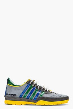 http://www.shopstyle.com: DSQUARED2 Grey perforated nubuck sneakers