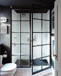 Steel casement doors are always a good idea... Even in a bathroom! One of our favorite shower designs @jennywolfinteriors #goldlist2016 #goldlisttakeover #jennywolfinteriors