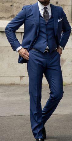 BELVEST Hand Made Blue Wool Super 120's Summer 3 Piece Suit EU 46 NEW US 36 R7