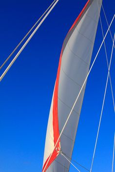 Nautical Sailboat Photography - Red, White Sail on Sapphire Blue Caribbean Sky - Sailboat Print - Sailboat Picture