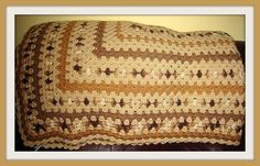 Hand Crocheted Twin Size Afghan in Earthtones by NortherNights, $50.00