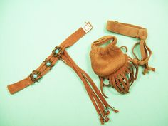 Idea for doll clothes accessories brown suede bag, beaded belt & headband on EBay