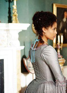 Belle starring Gugu Mbatha-Raw as Dido Elizabeth Belle Lindsay. Belle Movie, Belle Hairstyle, Georgian Era, 18th Century Fashion, Princess Aesthetic, Movie Costumes, Black Women, Natural Hair Styles, Vintage Fashion