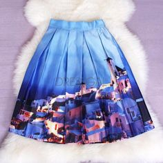 Stylish Lady Women's Fashion Casual Print Pleated Loose Knee Length Skirt_Skirts_Women_Women's Fashion Zone & Best Price Clothes