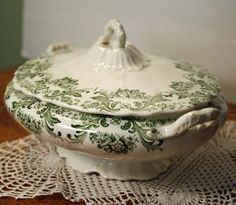 Antique Transferware Green Covered Casserole Dish