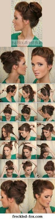 The Bouffant Bun  http://www.freckled-fox.com/2013/07/hair-tutorial-bouffant-bun.html