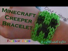 Rainbow Loom Creeper Bracelet Minecraft-How to_ONE LOOM SUBCRIBE!!
