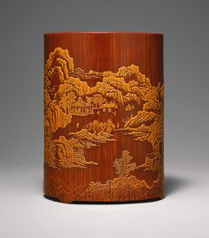 Bamboo brush holder, Ming dynasty (1368–1644), early 17th century  Zhang Xihuang (Chinese, active early 17th century)  China