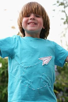 so here is a paper airplane t-shirt that i made for grady for this contest. i apologize that is in not ironed, but come on.i have an ants. Remake Clothes, Sewing Kids Clothes, Sewing For Kids, Baby Sewing, Diy Clothes, Boys T Shirts, Cute Shirts, Fall Sewing Projects, Paper Plane