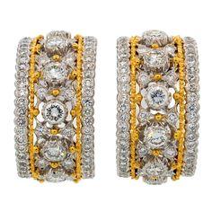 1stdibs | BUCCELLATI Diamond Gold Hoop Earrings