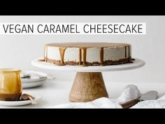 This Vegan Caramel Cheesecake is a showstopper! It's a gluten-free, dairy-free, vegan cheesecake recipe drizzled with the most amazing salted caramel sauce.