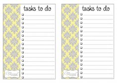 Free printable organization lists from The Organized Housewife