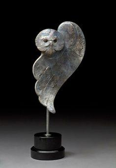 "Tim Cherry  ARCTIC GHOST. Snowy Owl.  19""H x 8""L x 5""W. ED: 18. Bronze."