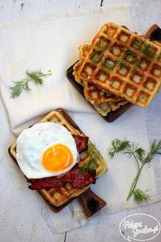 Potato waffle with bacon & eggs