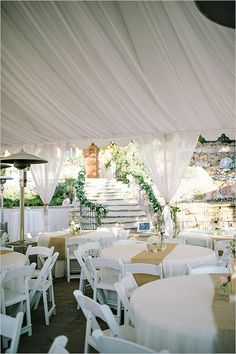 Bright and White! What a beautiful wedding tent reception.