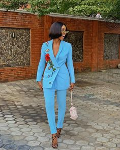 women blazer suit and pants, African coat jacket and Pencil trousers,African clothing for women,ladies jacket and pants,african women wears Blazers For Women, Suits For Women, Jackets For Women, Women Wear, Clothes For Women, Women Blazer, Men's Jackets, Suit Fashion, Look Fashion