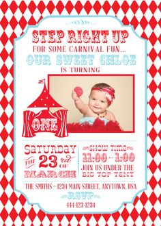 Circus Carnival Playbill Invitations with Photo - PRINTABLE
