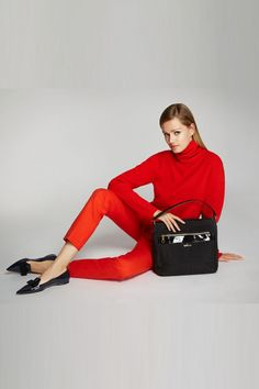 Kipling Leah Tote, $129, available at Kipling; C by Bloomingdale's Turtleneck Cashmere Sweater, $118.50, available at Bloomingdale's; Christin Michaels Cropped Taylor, $39.99, available at 6pm.