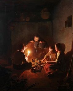 Rosierse Johannes - Children with chicks in the barn by candlelight