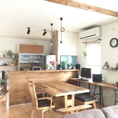 dining table + bench + desk