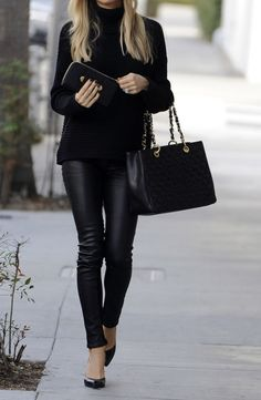 leather + knit + black