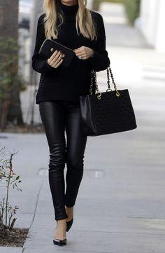 leather + knit + black