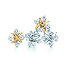 Tiffany & Co. Schlumberger® Lynn earrings with diamonds, from left: 18k gold and platinum. #TiffanyPinterest