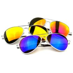 zeroUV  Classic Metal Teardrop Color Mirror Lens Aviator Sunglasses w Spring Hinges Silver Mixed 3Pack ** Visit the image link more details. Note:It is affiliate link to Amazon.