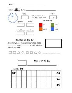 I have created worksheets for all the Saxon math meeting work, specifically for 2nd grade. These forms can be used to help increase students' math engagement, involvement, ownership, and accountability. They also provide great repetition and practice for students.