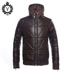 COUTUDI Fashion Men's Clothing Jacket Coats Waterproof Winter Solid Black Jackets Plus Size Man Pu Hoody Down Parkas Coat