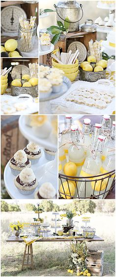 Lemon Dessert Table Feature Lemon Garden Party 1 ~ Old farmhouse style furniture, vintage tins, yellow glass and rustic accents. Tin containers of all shapes and sizes & bouquets of daffodils or other seasonal yellow flowers Festival Woodstock, Bar A Bonbon, Lemon Party, Festa Party, Lemon Desserts, Party Desserts, Yellow Desserts, Deco Table, Party Planning