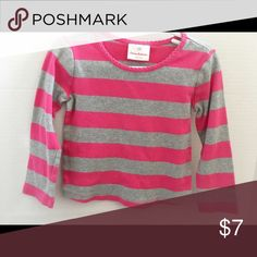 Hanna Andersson shirt Comfy long sleeve tee, gray and pink striped. All cotton. Size: 100 (3t). Condition: GUC (mild wash wear only). Smoke free/dog friendly home. Hanna Andersson Shirts & Tops Tees - Long Sleeve